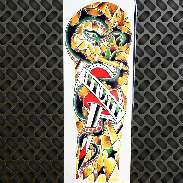 Tatuaż Zmywalny Rękaw Wąż I Miecz Kolorowy 7338938058