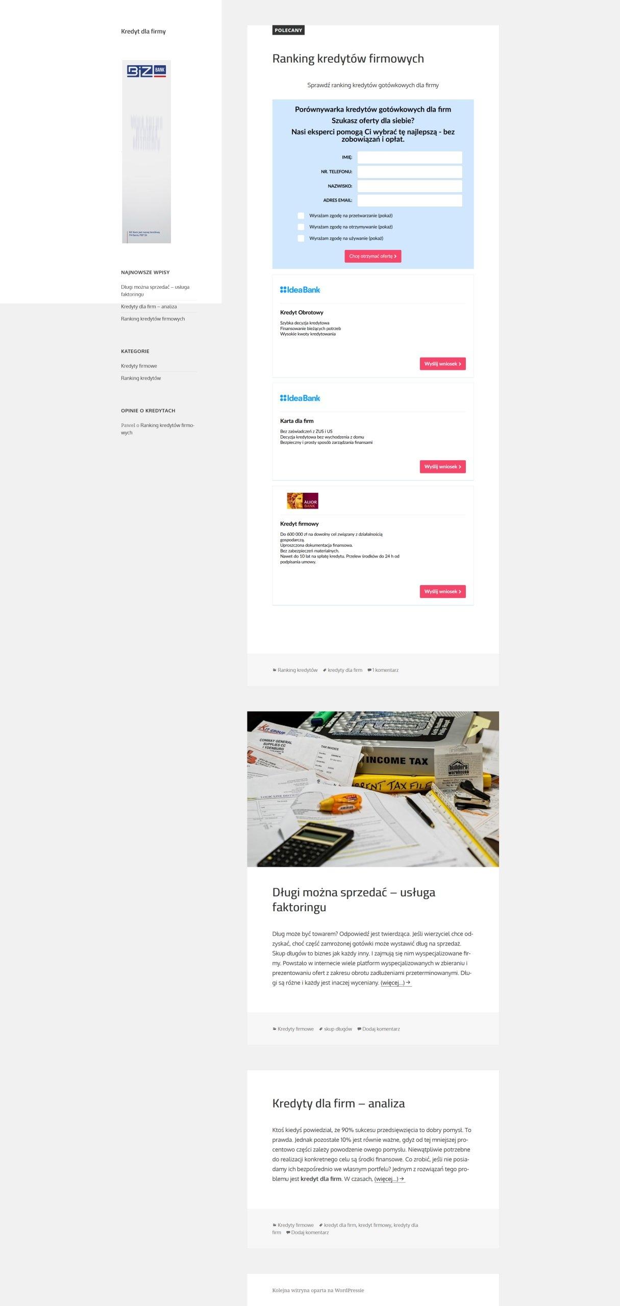 KredytDlaFirmy.pl + zaplecze 7 portali finansowych