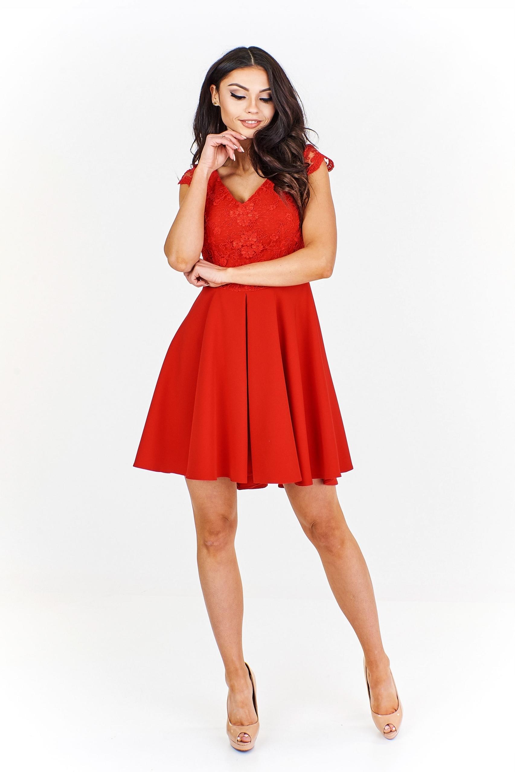 31534de449d2ba Sukienka z koronkowym gorsetem 38 Czerwony - 7514689819 - oficjalne ...