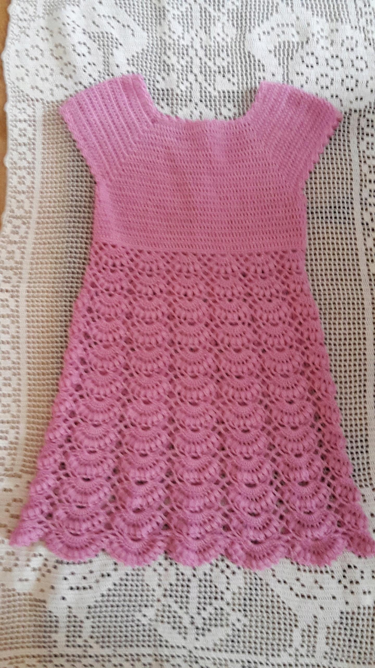 cb23e0bd39 Różowa szydełkowa sukienka dla dziewczynki. - 7559046833 - oficjalne ...