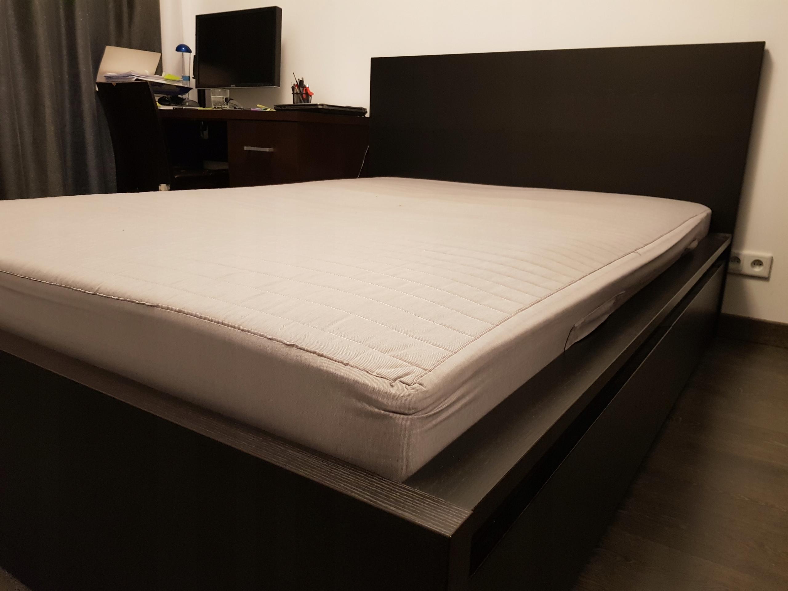 łóżko Ikea Malm Materac Szuflady Czarnybrąz