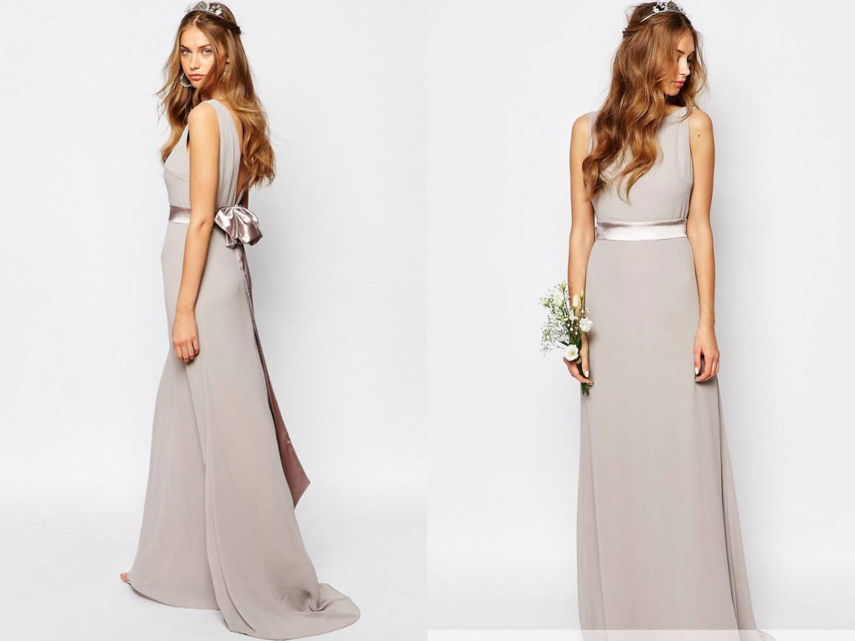 6cb6f3656e TFNC lawendowa suknia kokarda tył maxi L 40 - 7287195835 ...