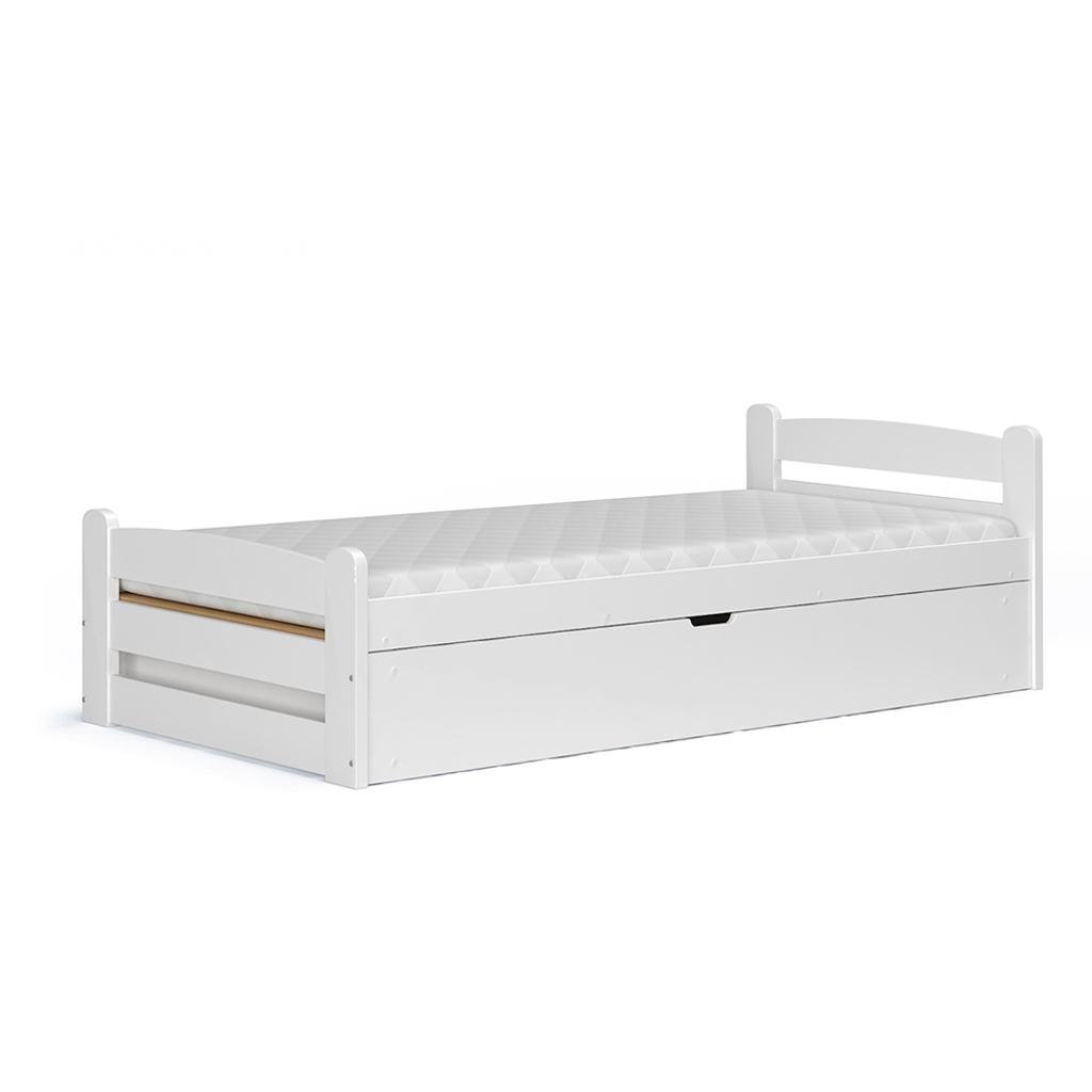 łóżko Z Drewna Młodzieżowe 90x200 Biały 7337286079