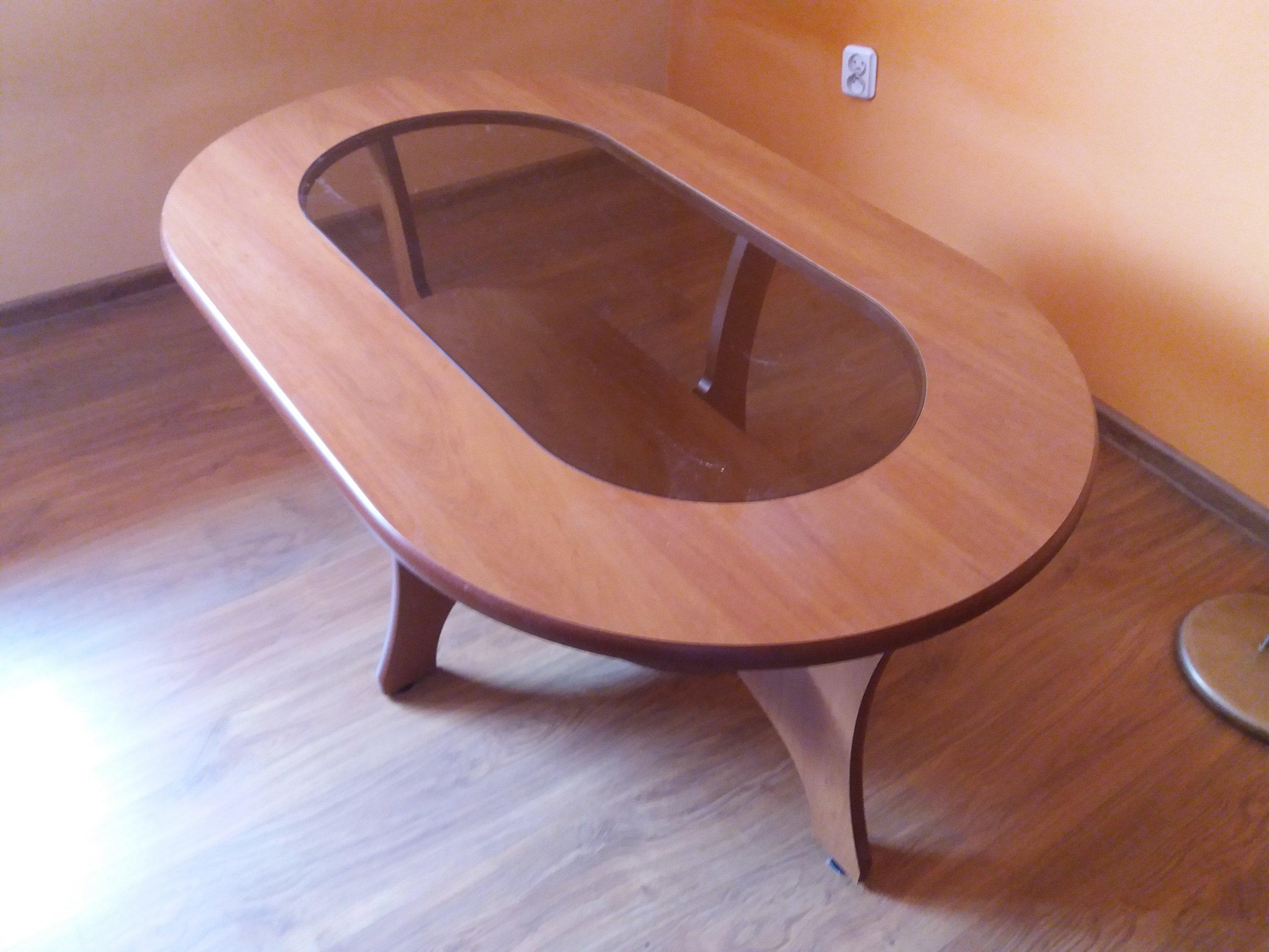 Chwalebne Ława okrągła, stolik kawowy, brązowy ze szkłem - 7299709846 HM21