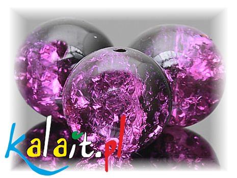 KALAIT 34szt Sznur 1,2cm CRACKLE fiolet +czr KS403