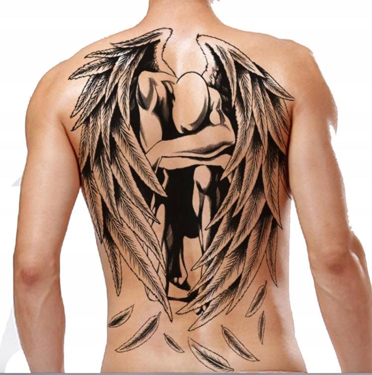 Tatuaż Zmywalny Plecy Duży Back Tymczasowy Anioł