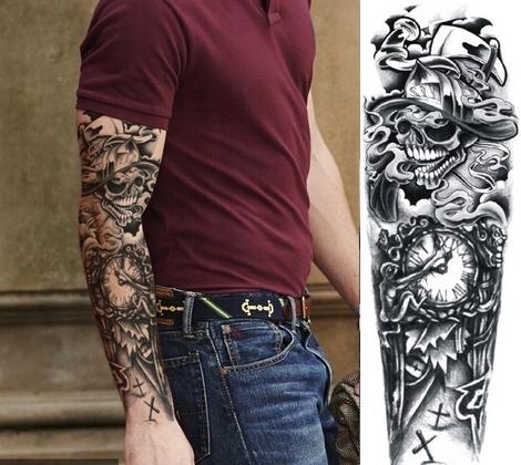 Tatuaż Zegar Czas Czacha Unikatowy Duży Rękaw 7487874404