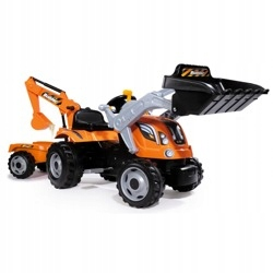 Traktor Builder MAX z z łyżką, koparką i przyczepą