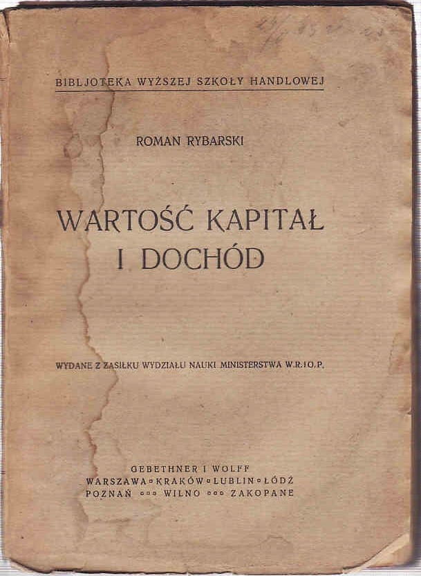 WARTOŚĆ KAPITAŁ I DOCHÓD - R. RYBARSKI