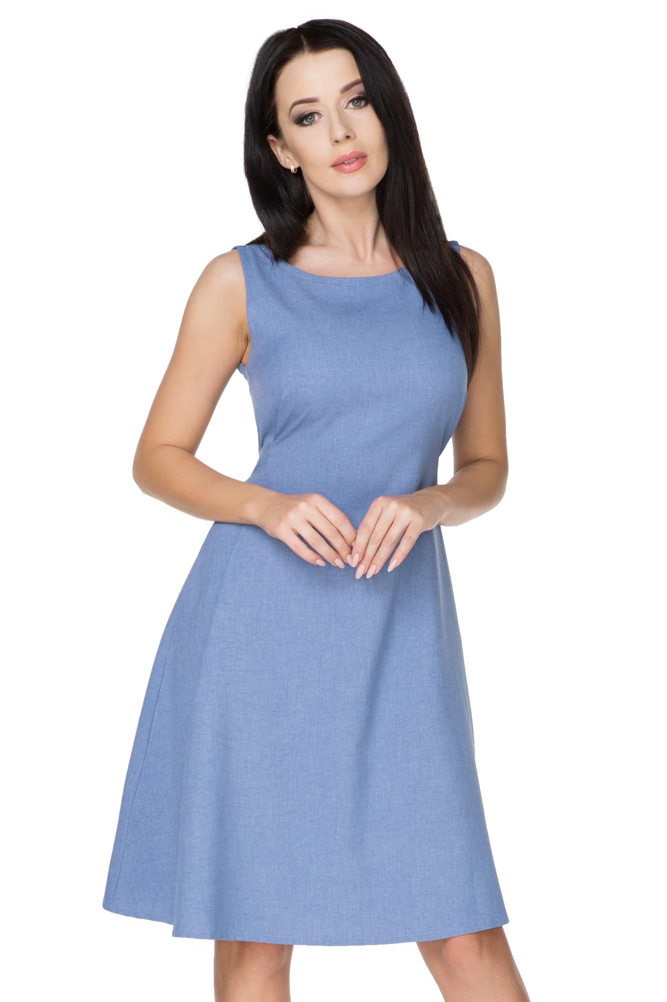 a67e0b8608 TESSITA Sukienka wiązana imitacja lnu niebieski