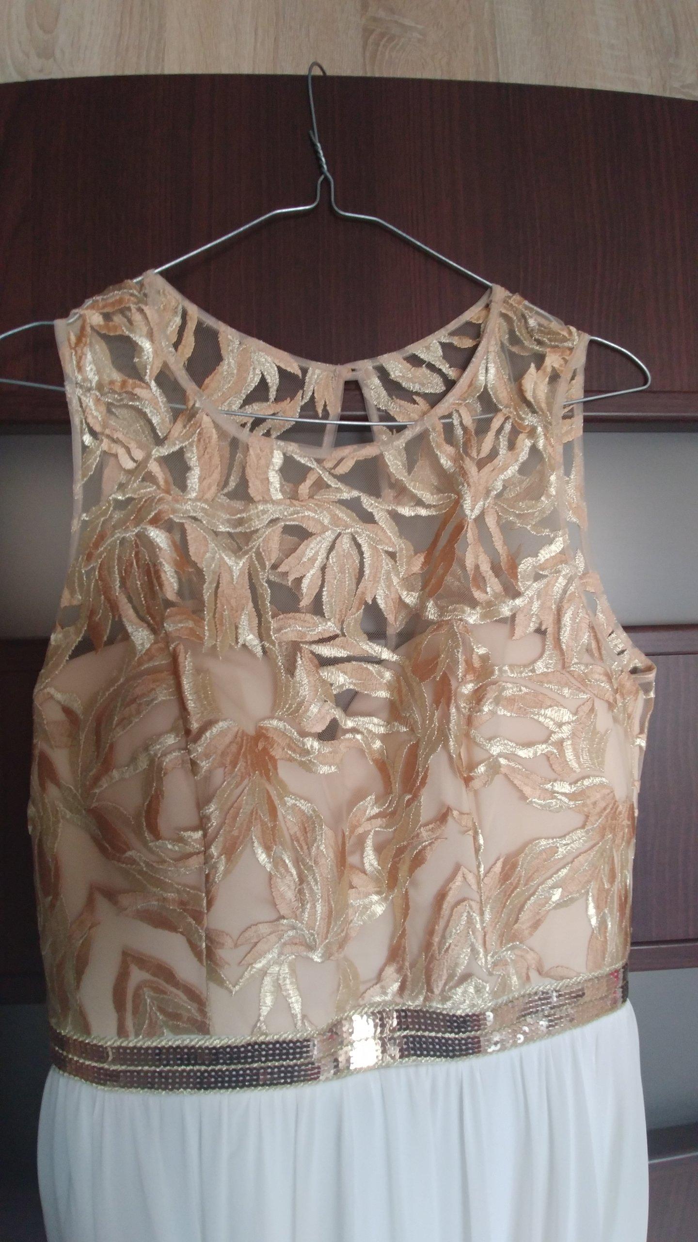 Suknia Sukienka Szyfon ślub Cywilny świadkowa Złot 7229441077