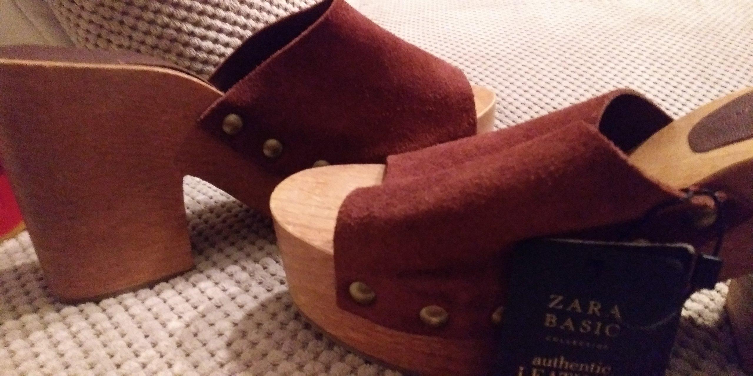 Zara drewniaki.sandały
