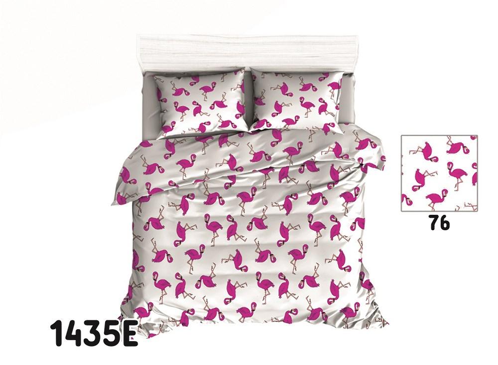 Pościel Bawełniana 140x200 1435e Biała Flamingi 7383349077