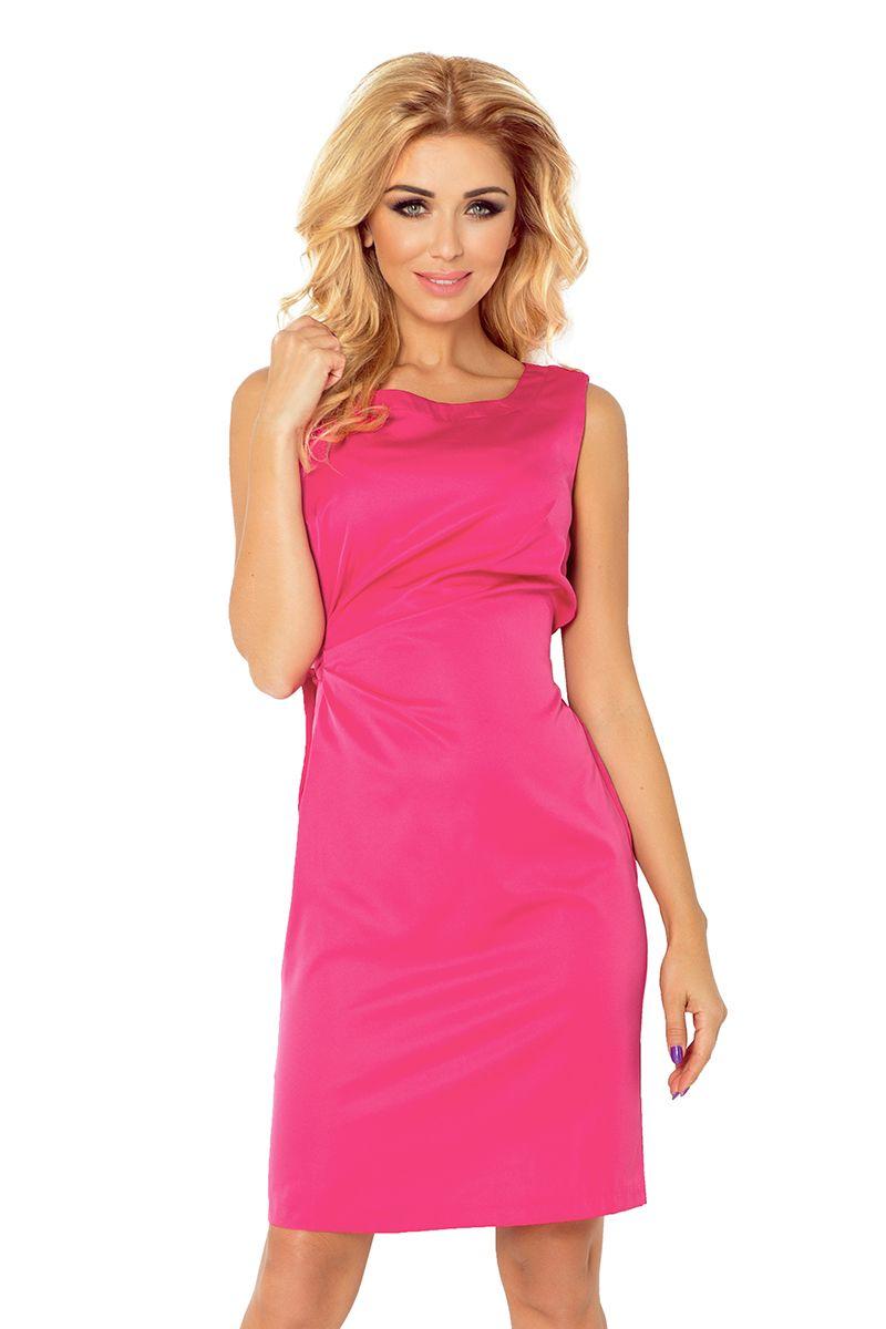 45f158a1f7 Numoco Sukienka koktajlowa z wiązaniem malina M - 6874250050 - oficjalne  archiwum allegro