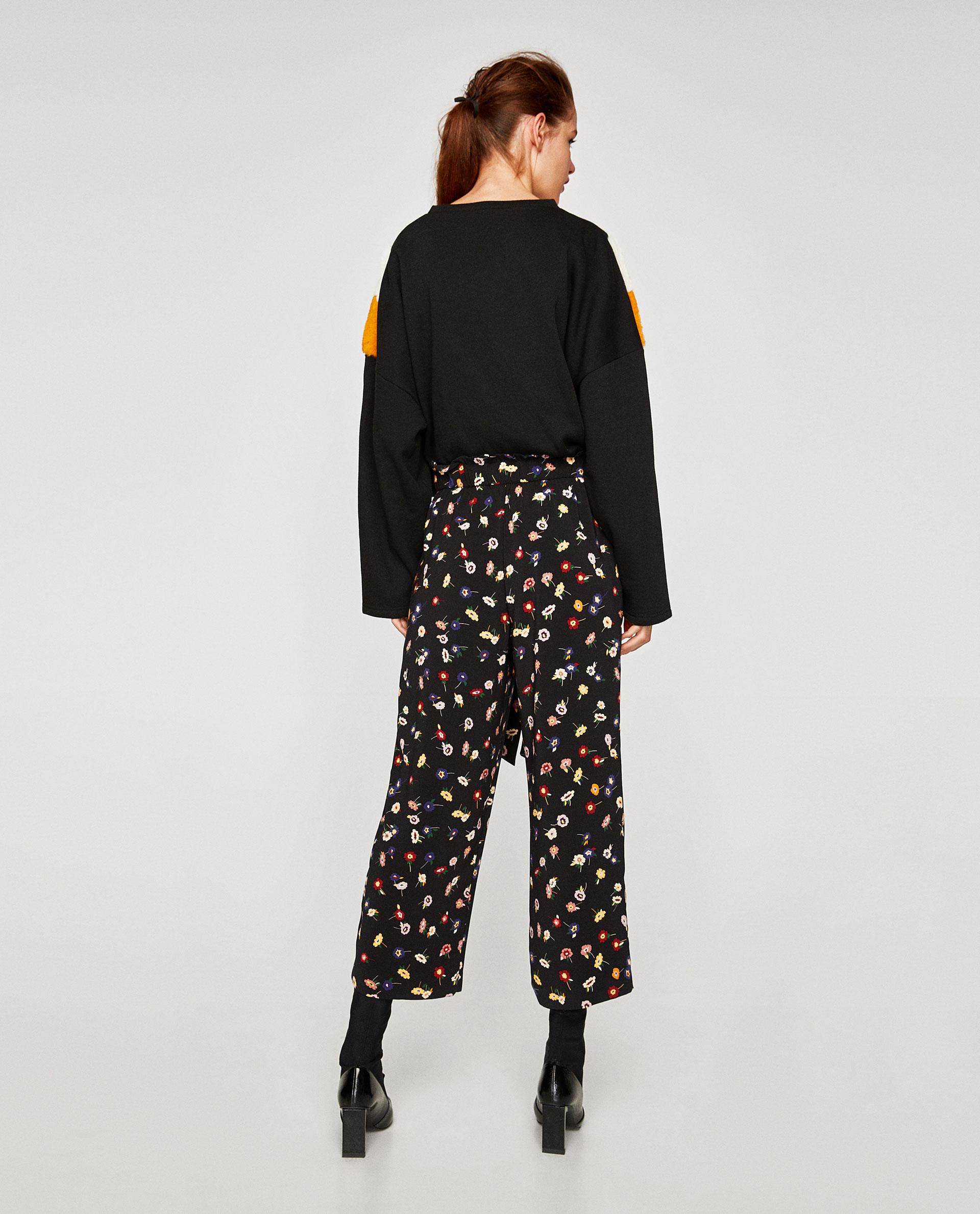 095fef82 ZARA - czarne luźne spodnie w kwiaty - M - 7498534062 - oficjalne ...