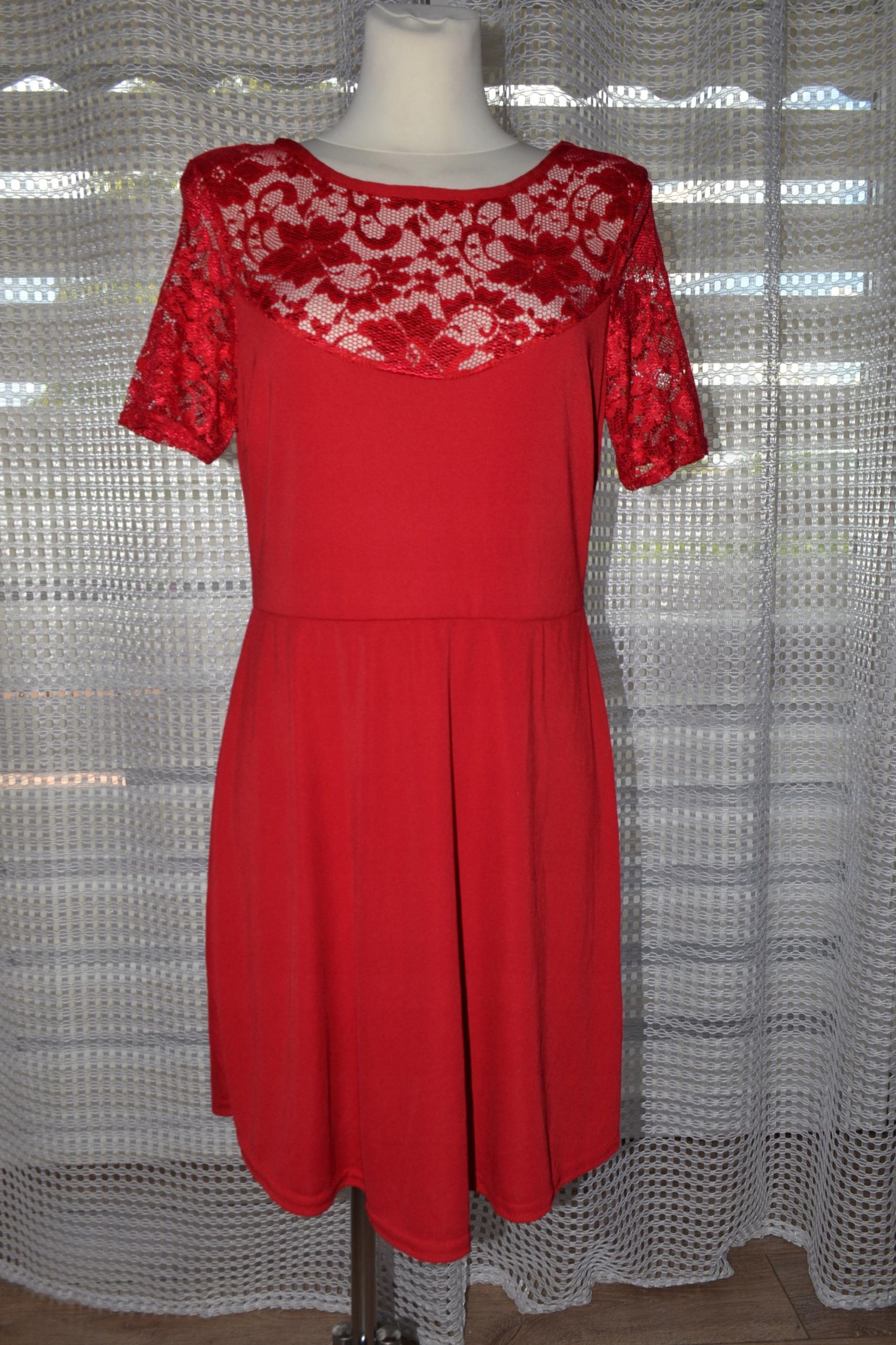 52ef75e9441585 MISS FACELESS śliczna czerwona sukienka 44/46 - 7448883645 ...