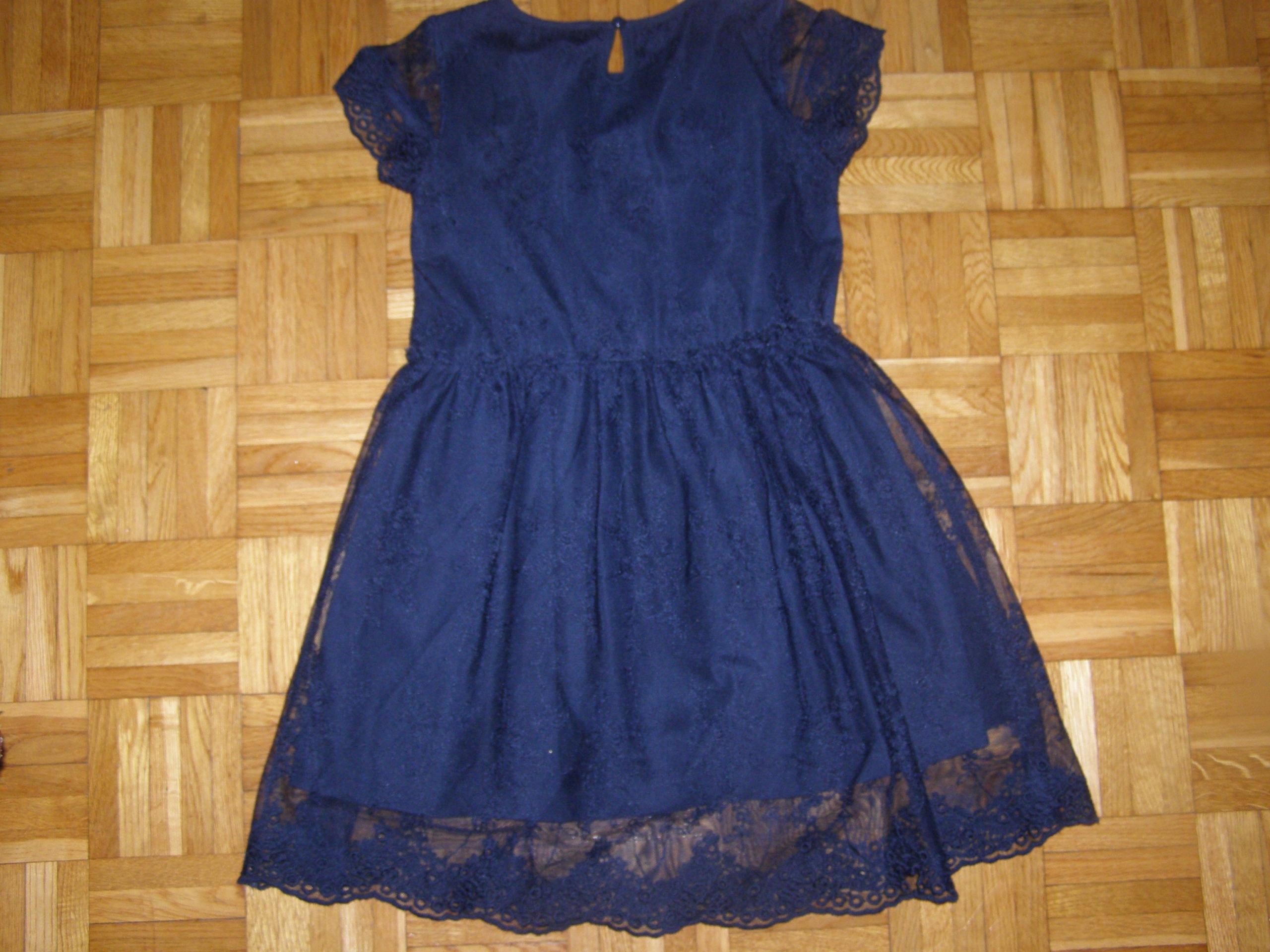 1caab6ec7f Reserved - sukienka KORONKA granat 128cm Śliczna - 7690578162 ...