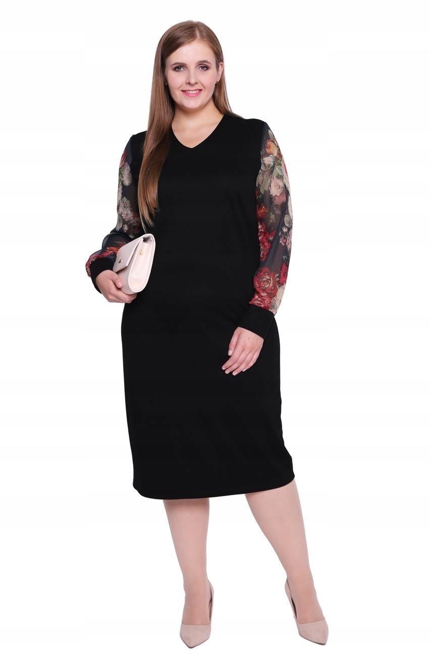 daa5a864b1 Czarna sukienka z rękawami w kwiaty 60 - 7572540790 - oficjalne ...