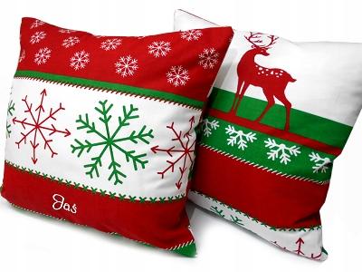 Poduszka świąteczna z IMIENIEM Mikołajki renifer