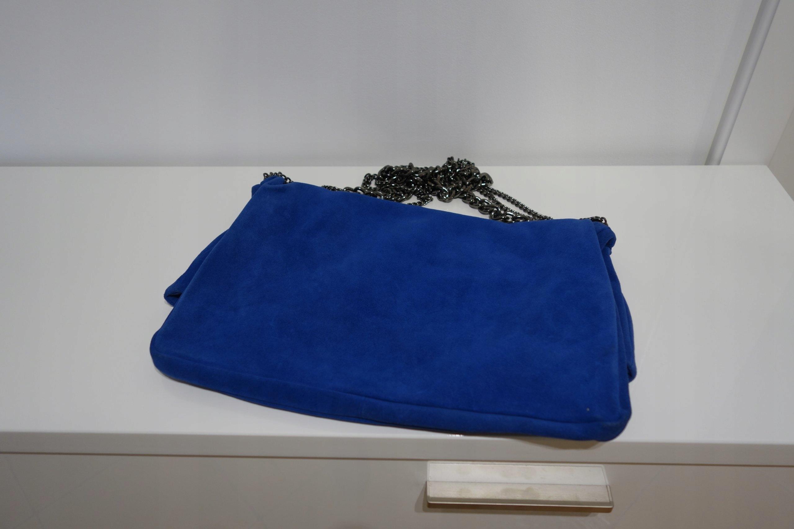 76d33c4cb9334 ZARA chabrowa torebka zamszowa kobaltowa łańcuchy - 7541994508 ...