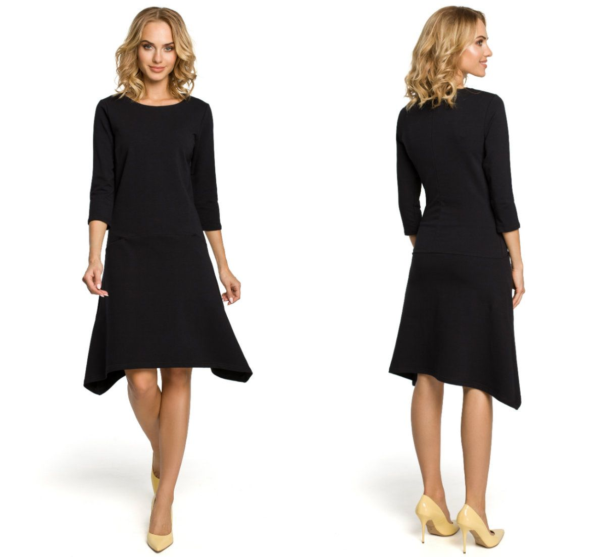 b693f6355f Elegancka trapezowa sukienka z dzianiny do pracy - 7308237695 ...