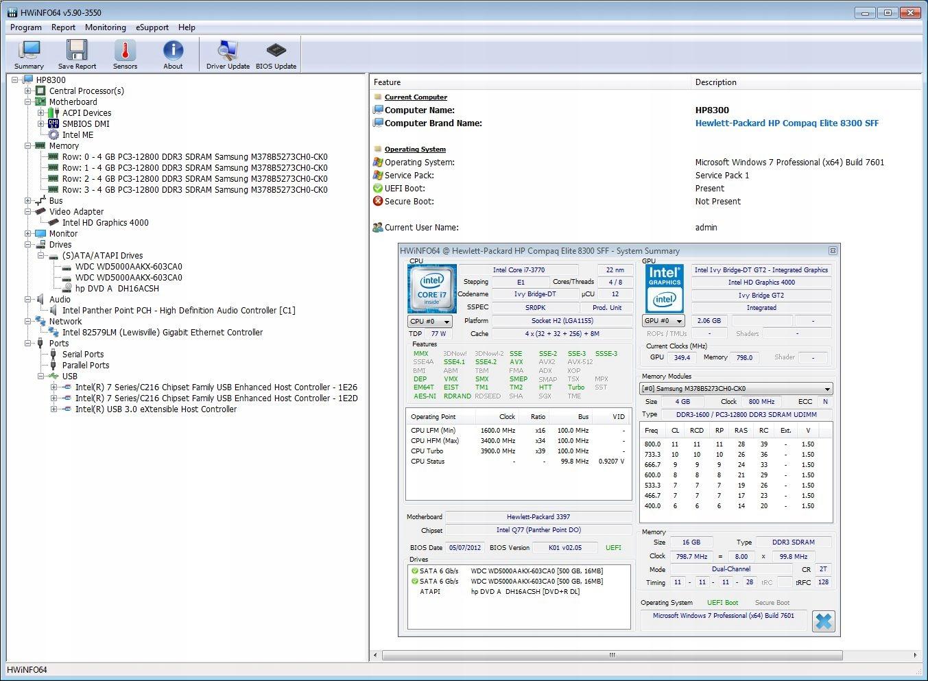 HP 8300 i7-3770 @ 3 40GHz 16 GB RAM 1TB HDD WiN7 - 7668690845