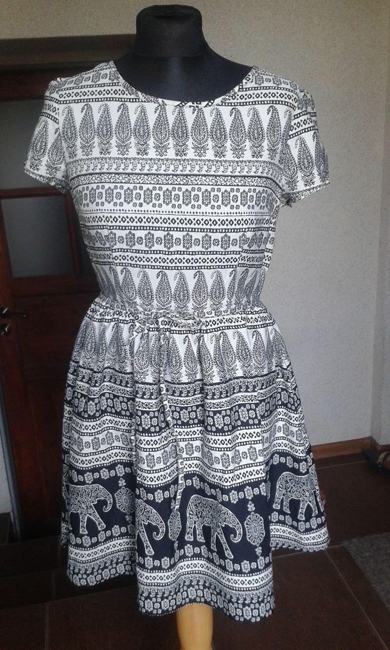 102e476a8d NEW LOOK letnia sukienka czarno - biała R.38 40 - 7308600293 ...