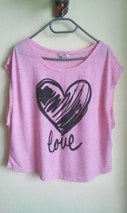 Bluzka print love różowa New Look oversize