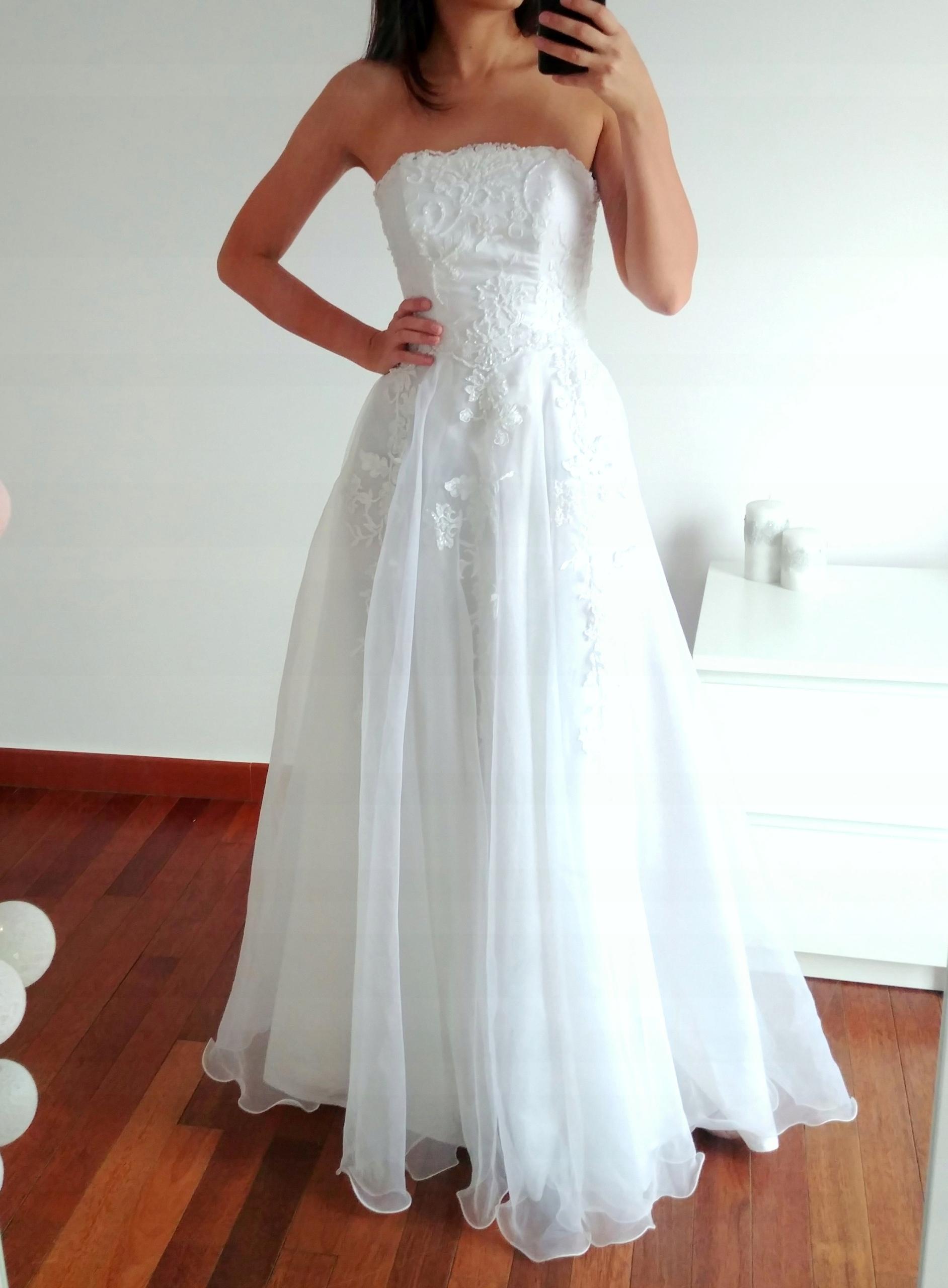 Suknia ślubna Biała Gorset Hafty 34 Xs 7564508583 Oficjalne