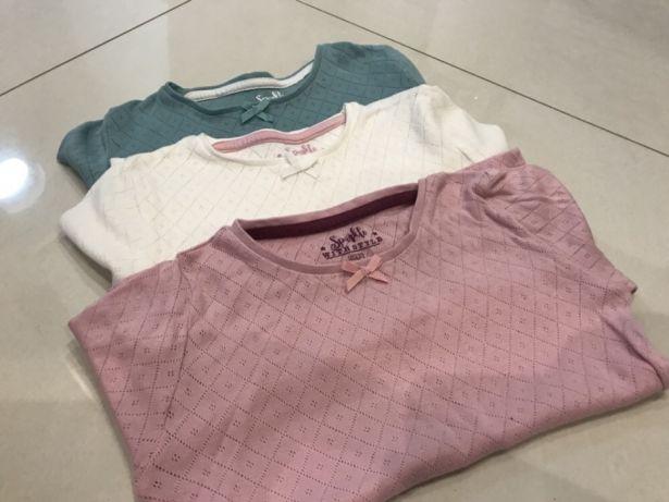 3 koszulki  F&F, ecru, turkus, róż 5-6 LAT