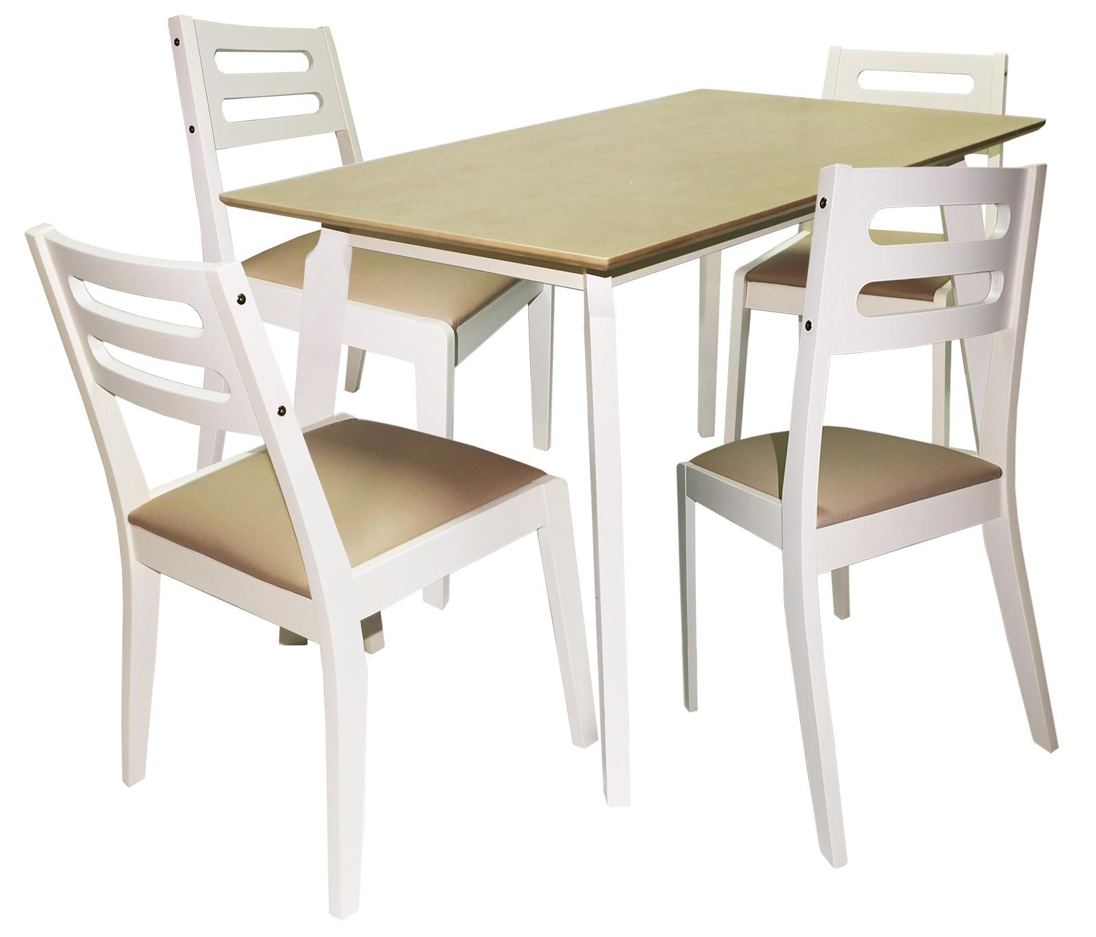 Zestaw Stół4 Krzesła Drewno Kuchnia Salon Vinotti