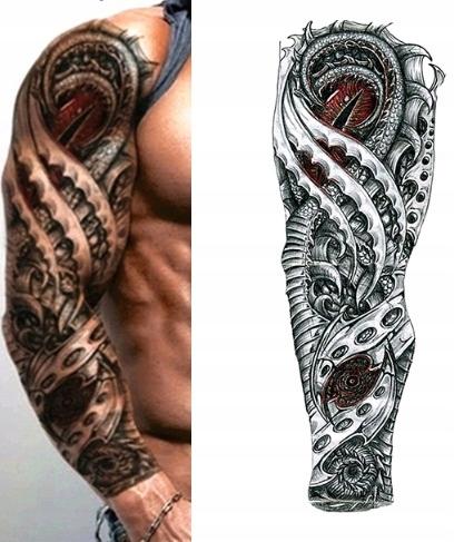 Naklejany Tatuaż Kalkomania Tattoo Oko Smok Wąż