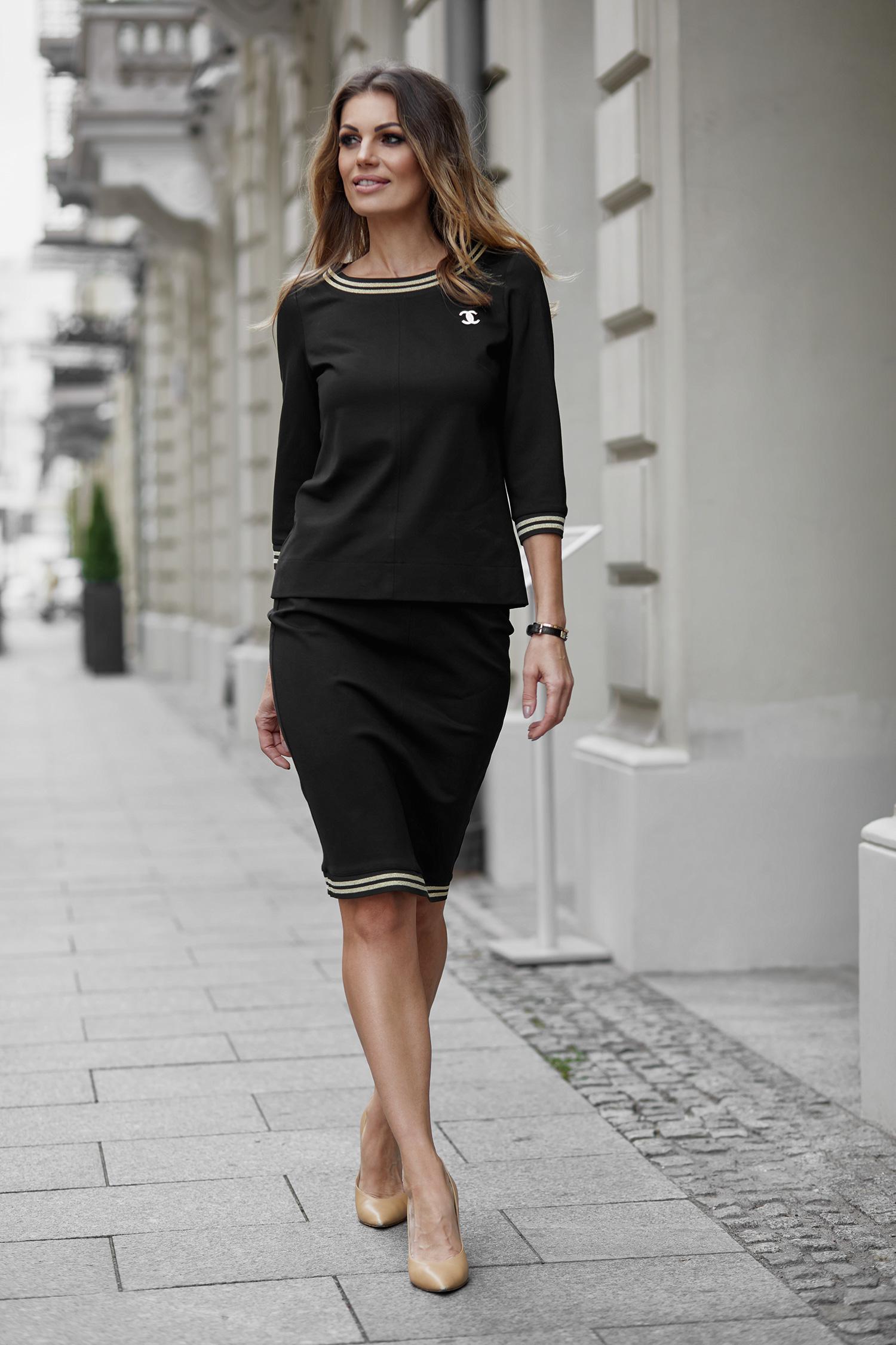beca29c05cd55e Elegancki komplet bluzka + spódnica z broszką A258 - 7639555747 ...