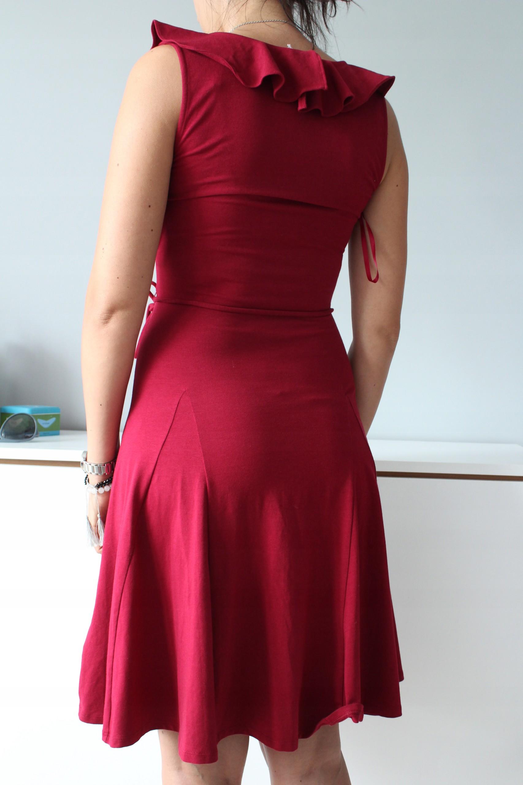 3e5d63d762 Piękna RALPH LAUREN Bordowa Sukienka USA NOWA S - 7475756185 ...