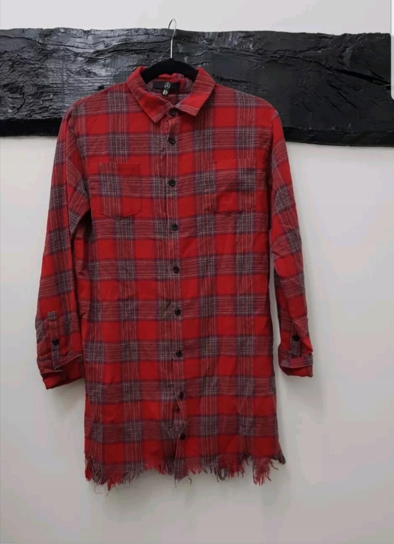 d05561a4367f8a H&M Długa koszula z wiskozy rozm. 34 (XS). Koszula sukienka kratka czerwona  36/38 zara