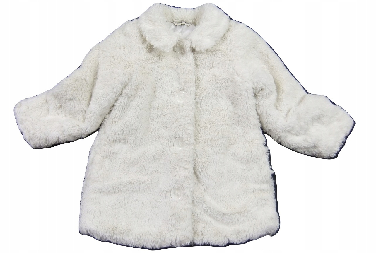 Biały futerkowy płaszczyk 98cm George