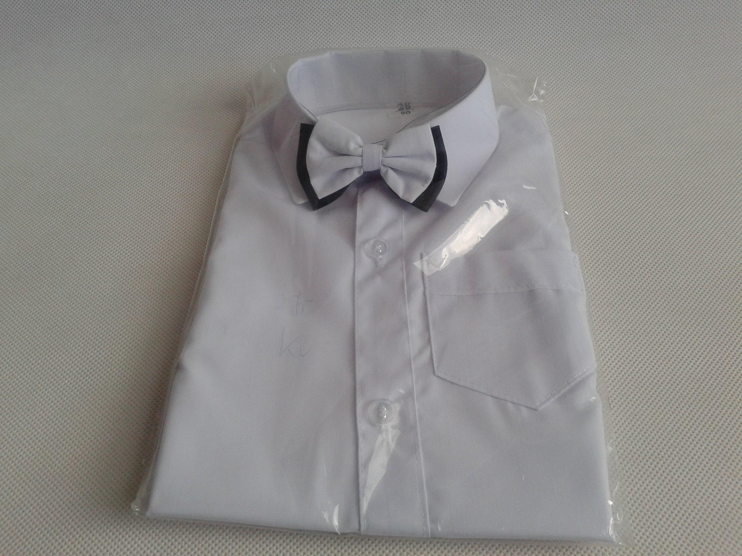 4f572543d331ec Koszula biała z długim rękawem elegancka z muchą - 7238969675 ...