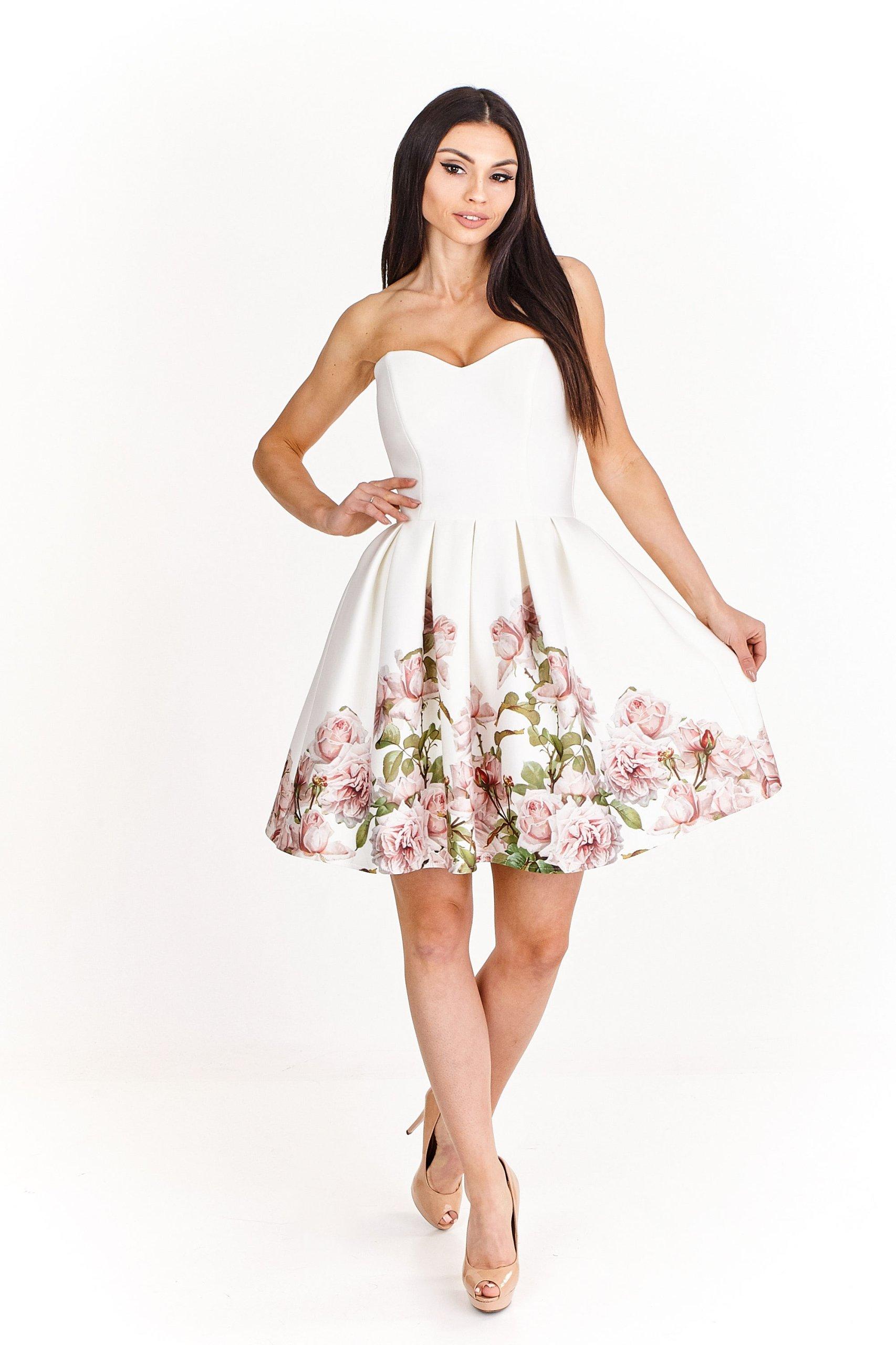 88a17408ff Sukienka ODKRYTE RAMIONA w Kwiaty Wiosna Lato 2018 - 7346468576 ...