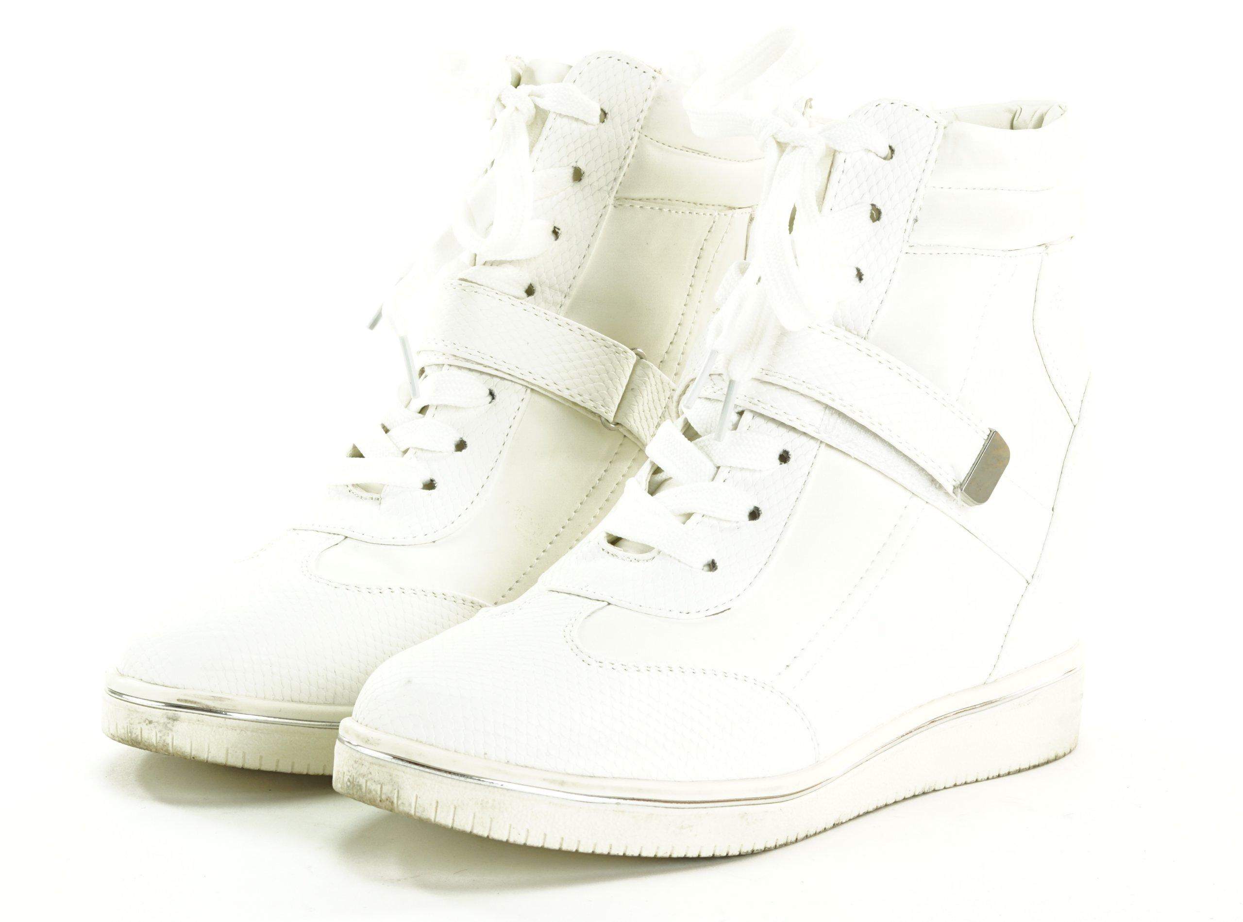 43f99c85bf6aa NEW LOOK białe trampki na koturnie R. 40 R4 37 - 7409755368 ...