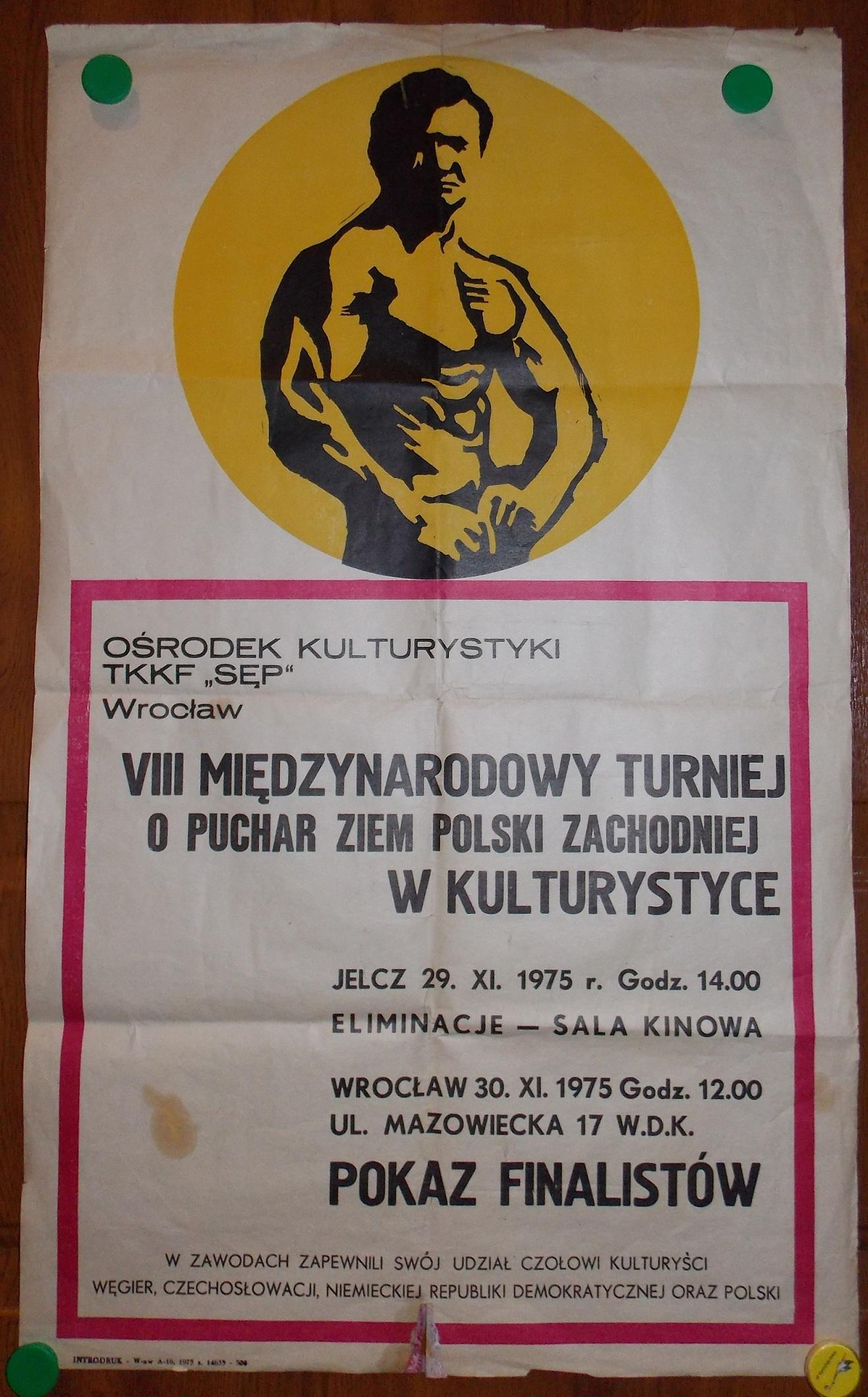 Plakat Tkkf Sęp Wrocław Kulturystyka 1975 Jelcz