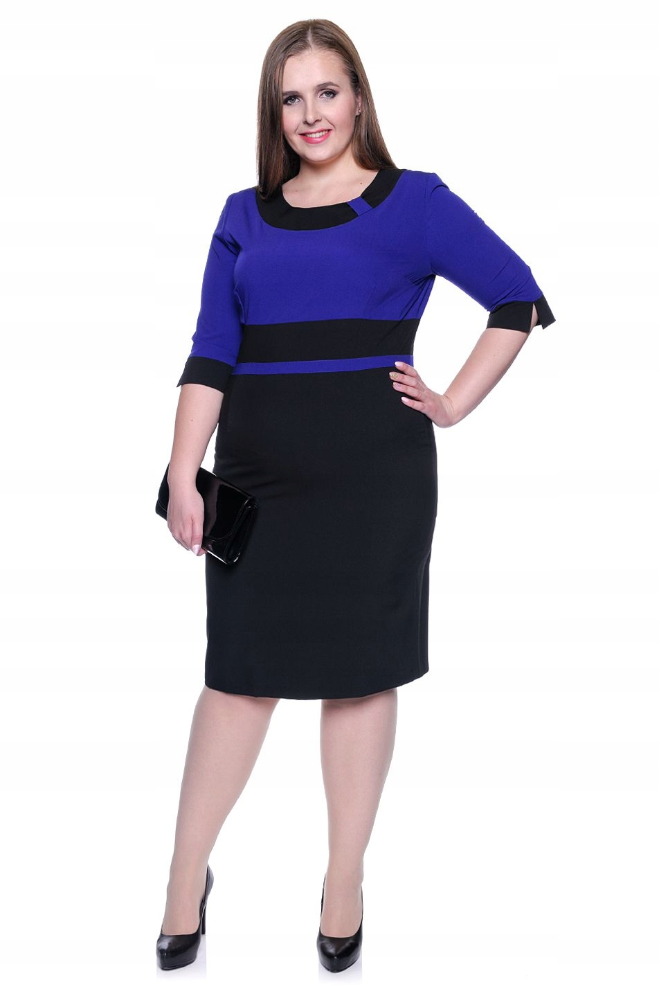 165ce28d4404 Chabrowo-czarna elegancka sukienka 56 - 7464018127 - oficjalne ...