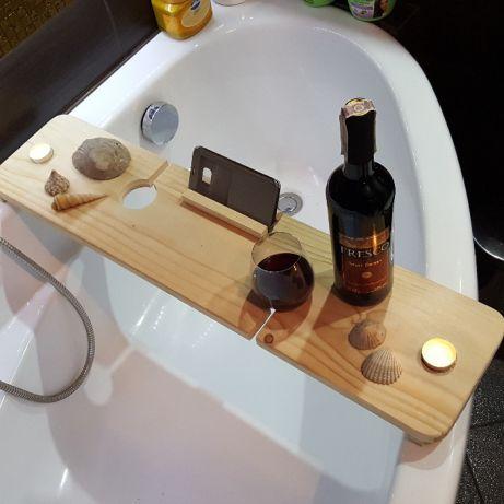 Półka łazienkowa Na Wanne Książka Wino świece