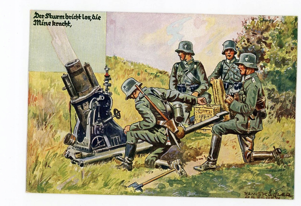 pocztówka ARMIA NIEMIECKA Reichsheer wyrzutnia min