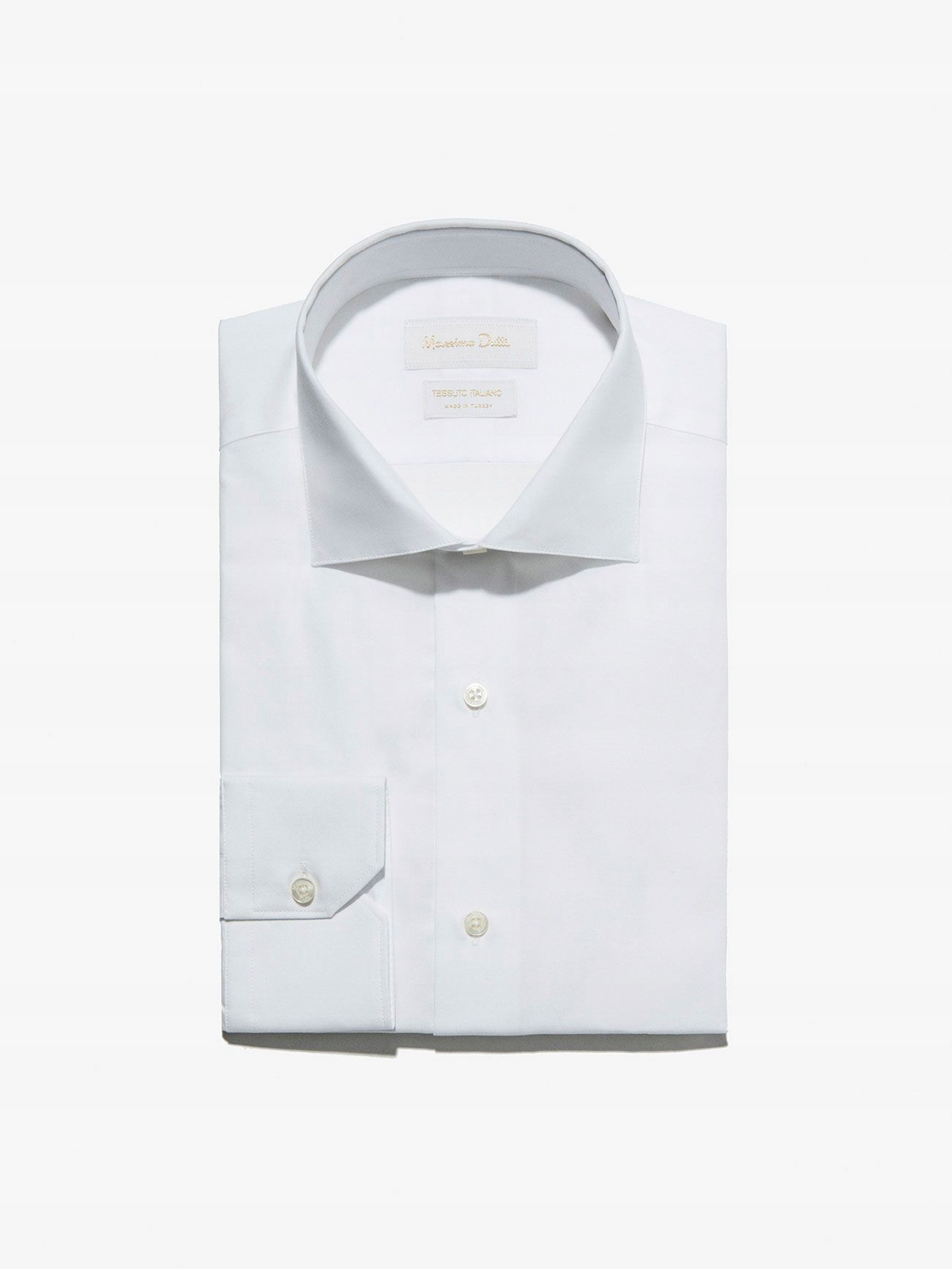 MASSIMO D Klasyczna biała koszula slim (40) 7409347269  BB3g3