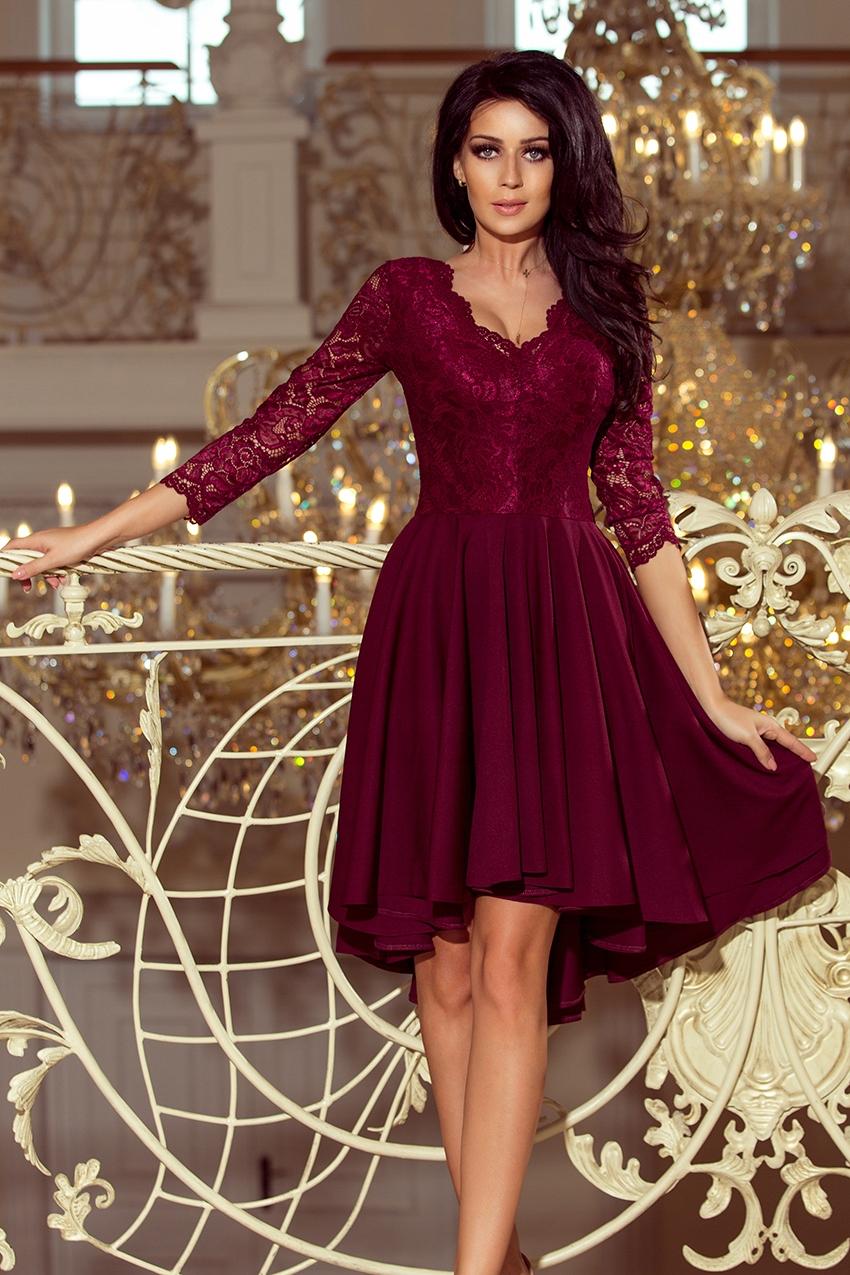 5d77644211 Sukienka koronka BORDOWA rozkloszowana KORONKOWA L - 7617249772 ...