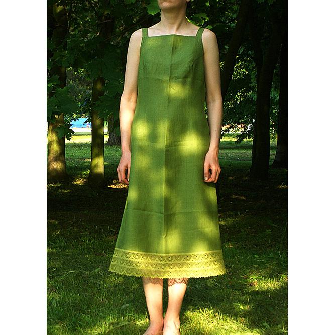 156b4fb588 Sukienka lniana na ramiączkach zielona 38 - 7368673076 - oficjalne ...