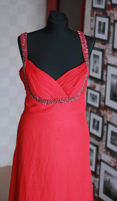 Suknia czerwona maxi balowa wesele sylwester L 40