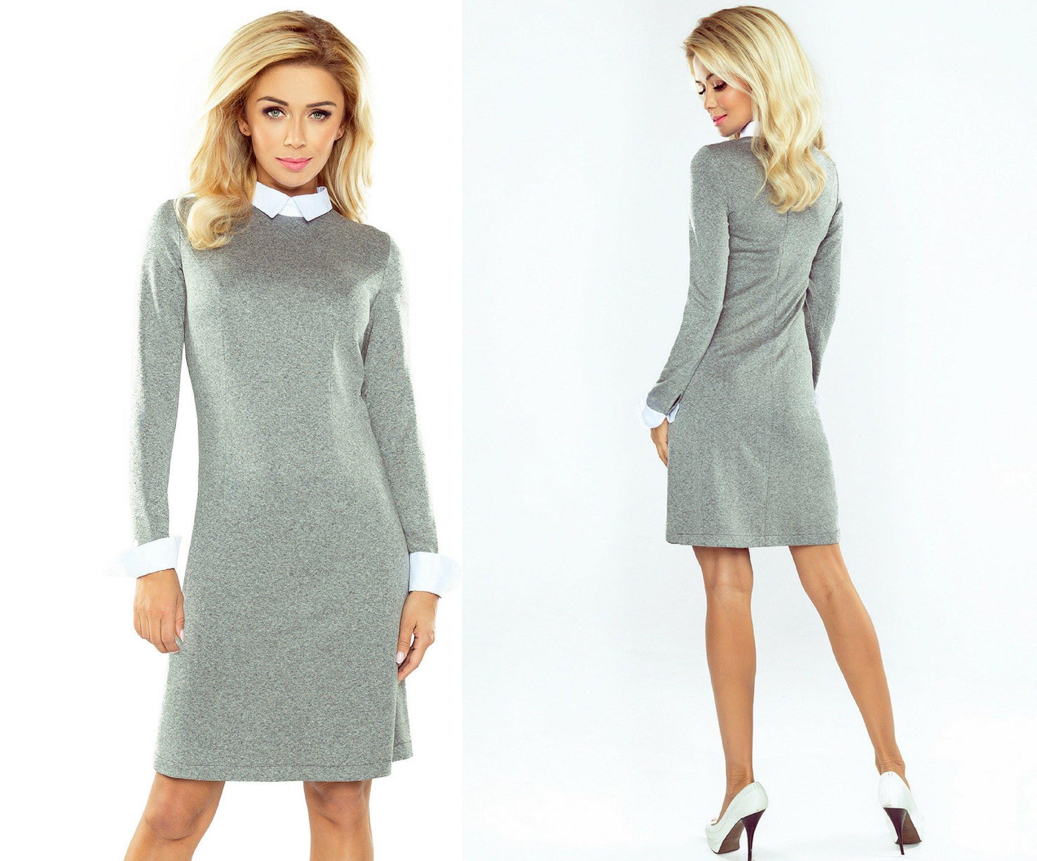 0b165ec599 Sukienka z kołnierzykiem biznesowa szara  40 - 7017524351 ...