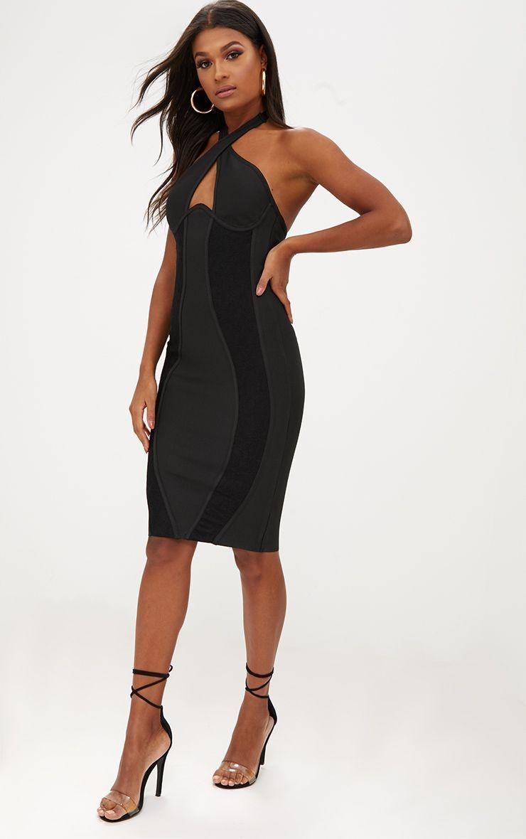 435cdfb16f PRETTYLITTLETHING Bandażowa czarna sukienka (32) - 7500898248 - oficjalne  archiwum allegro