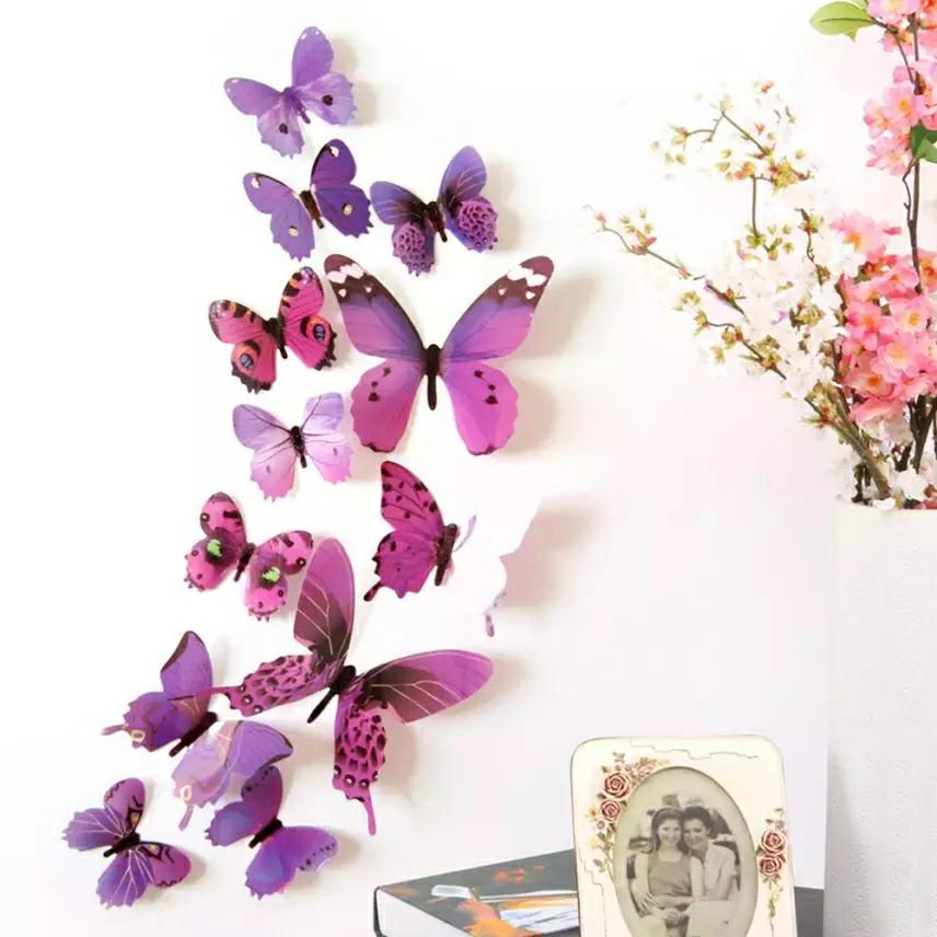 Dekoracja Ozdoba Na ścianę Motyle 3d Fiolet 12szt